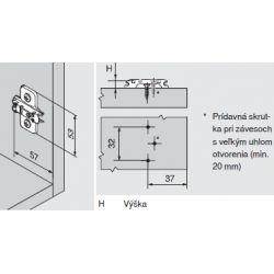 CLIP top - krížova montážna podložka 0mm, vrut