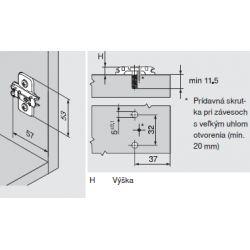 CLIP top - krížova montážna podložka 3mm, euroskrutka