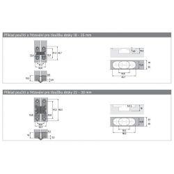 Záves pre skladané dvere 18-50 mm