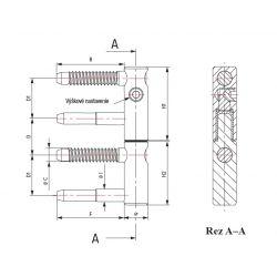 Záves SZ 82, periemer závesu 20mm, poistka proti demontáži