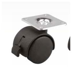 Koliesko s platničkou a brzdou ø 30mm, čierne