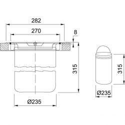 kôš KEA F12, montáž do roviny