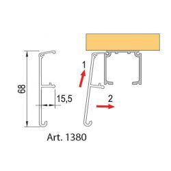 krycia lišta pre horné vedenie 2m, hliník