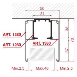 krycia lišta pre horné vedenie 3m, hliník